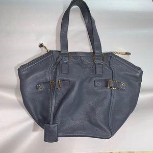 SAINT LAURENT slate blue goatskin BUCKET BAG tote